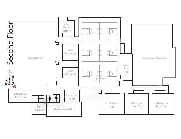 Map of the Dixon Recreation Center second floor