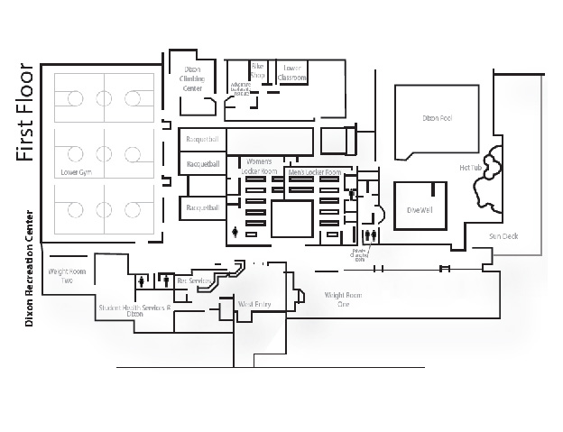Map of the Dixon Recreation Center first floor