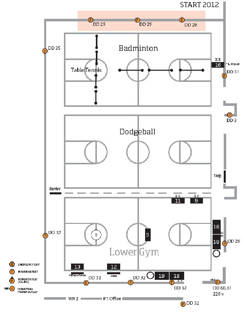 Map of the Dixon Recreation Center Lower Gym with Electrical Outlets
